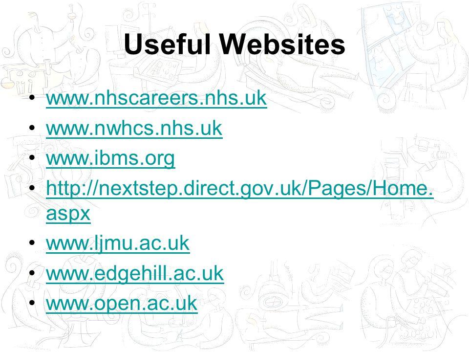 Useful Websites www.nhscareers.nhs.uk www.nwhcs.nhs.uk www.ibms.org http://nextstep.direct.gov.uk/Pages/Home.