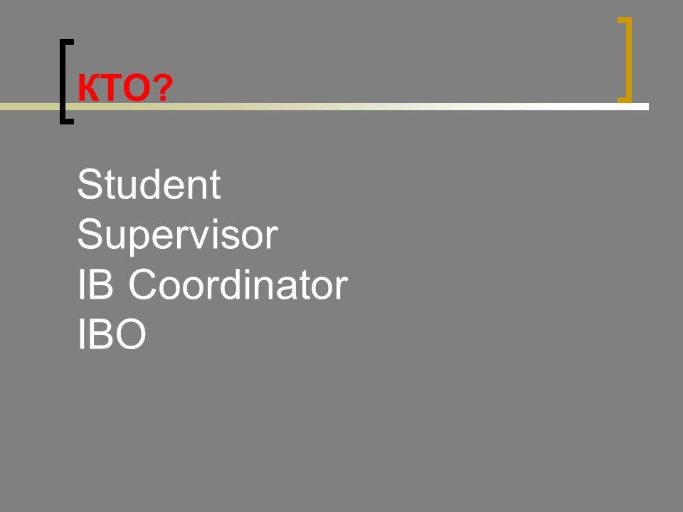 КТО Student Supervisor IB Coordinator IBO