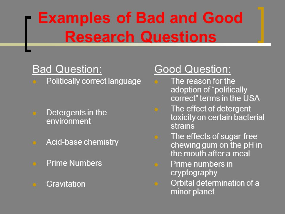 Examples of Bad and Good Research Questions Bad Question: Politically correct language Detergents in the environment Acid-base chemistry Prime Numbers Gravitation Good Question: The reason for the adoption of politically correct terms in the USA The effect of detergent toxicity on certain bacterial strains The effects of sugar-free chewing gum on the pH in the mouth after a meal Prime numbers in cryptography Orbital determination of a minor planet
