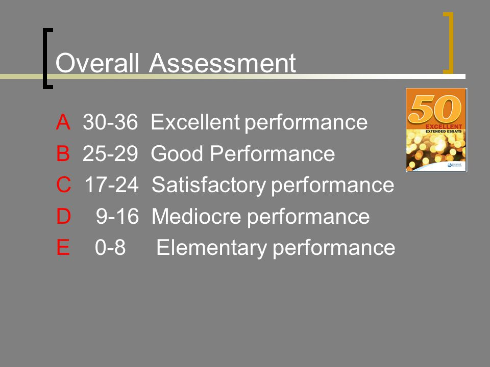 Overall Assessment A 30-36 Excellent performance B 25-29 Good Performance C 17-24 Satisfactory performance D 9-16 Mediocre performance E 0-8 Elementary performance