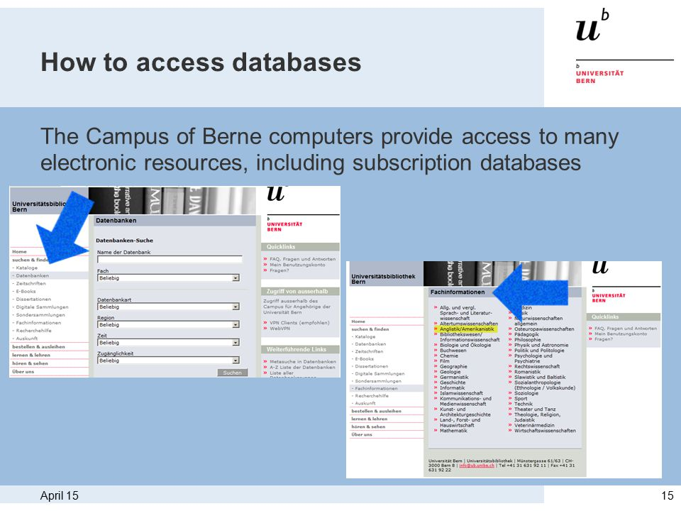 April 1515 How to access databases The Campus of Berne computers provide access to many electronic resources, including subscription databases