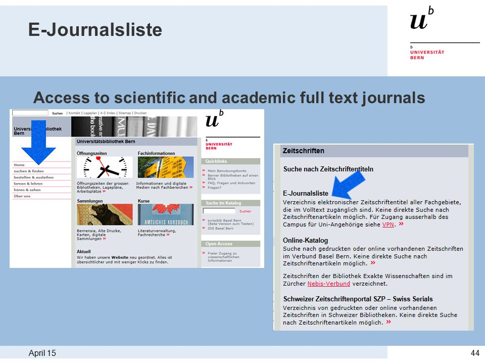 April 1544 E-Journalsliste Access to scientific and academic full text journals