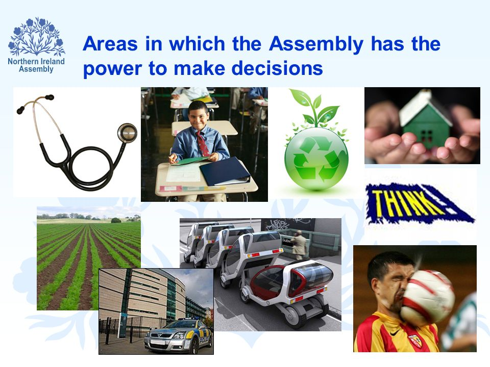 Areas in which the Assembly has the power to make decisions