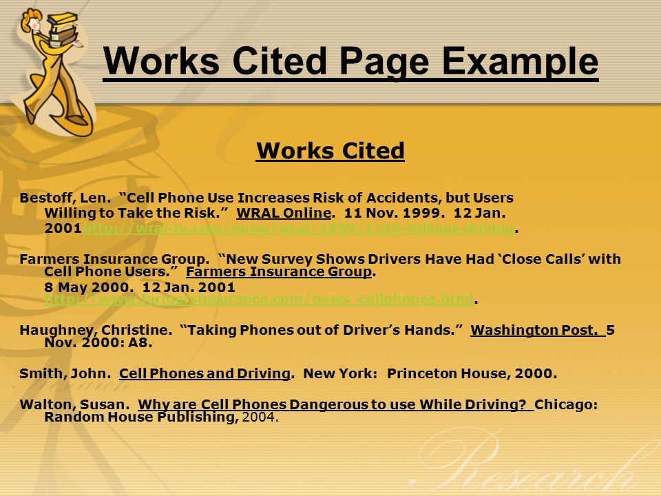 Works Cited Page Example Works Cited Bestoff, Len.