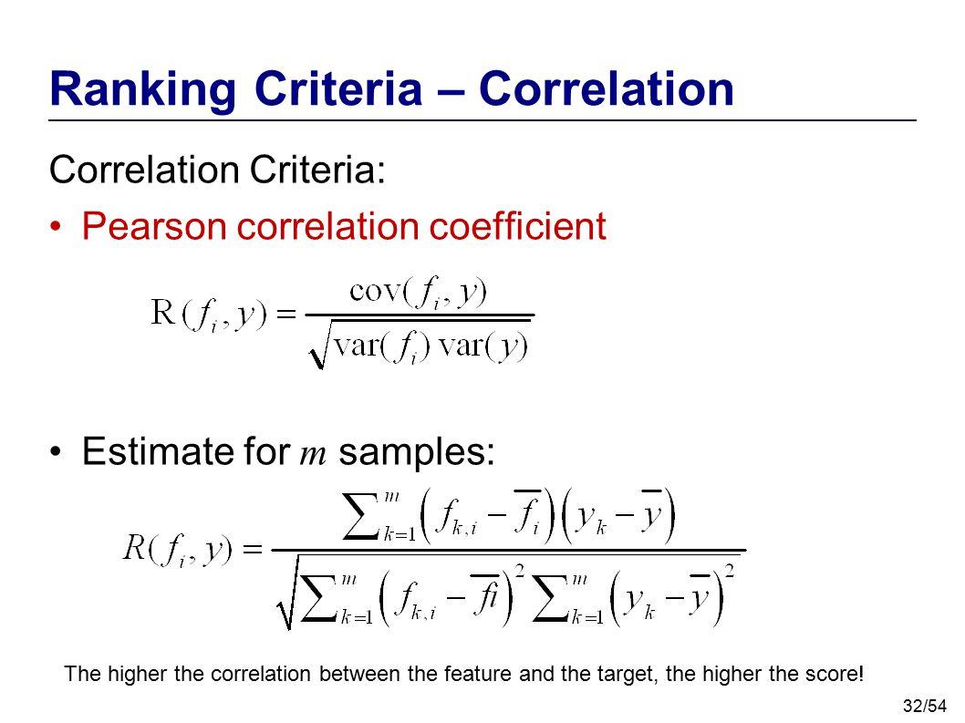 32/54 Ranking Criteria – Correlation Correlation Criteria: Pearson correlation coefficient Estimate for m samples: The higher the correlation between