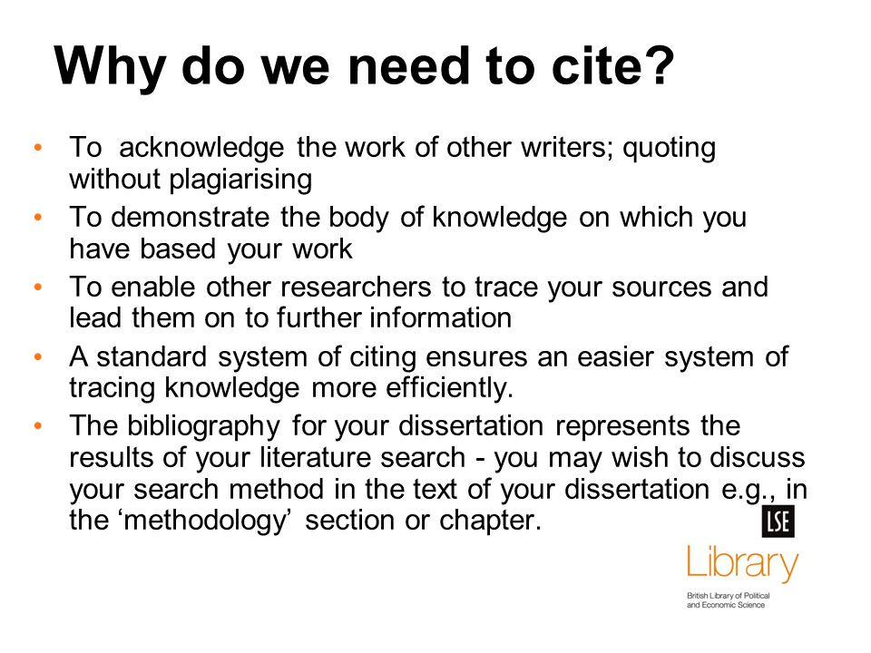 Why do we need to cite.