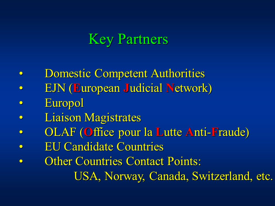 Domestic Competent Authorities Domestic Competent Authorities EJN (European Judicial Network) EJN (European Judicial Network) Europol Europol Liaison Magistrates Liaison Magistrates OLAF (Office pour la Lutte Anti-Fraude) OLAF (Office pour la Lutte Anti-Fraude) EU Candidate Countries EU Candidate Countries Other Countries Contact Points: Other Countries Contact Points: USA, Norway, Canada, Switzerland, etc.
