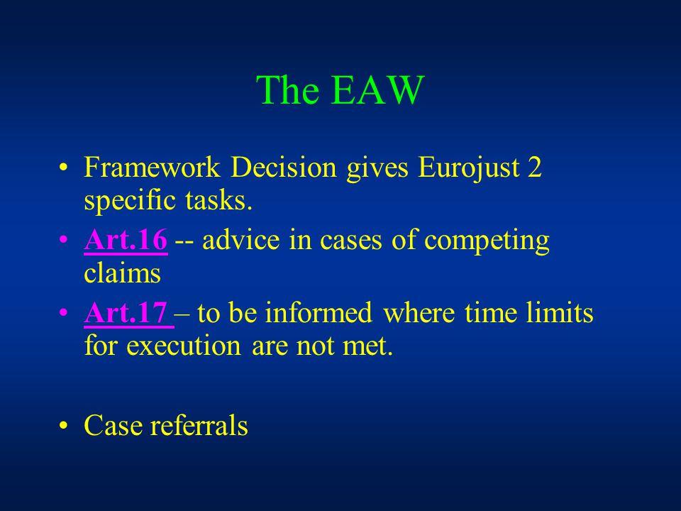 The EAW Framework Decision gives Eurojust 2 specific tasks.