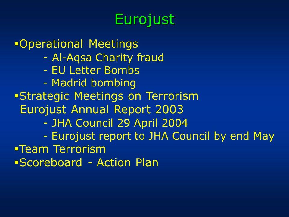 Eurojust  Operational Meetings - Al-Aqsa Charity fraud - EU Letter Bombs - Madrid bombing  Strategic Meetings on Terrorism Eurojust Annual Report 2003 - JHA Council 29 April 2004 - Eurojust report to JHA Council by end May  Team Terrorism  Scoreboard - Action Plan