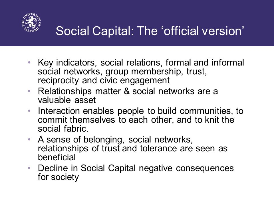 Social Capital: The 'official version' Key indicators, social relations, formal and informal social networks, group membership, trust, reciprocity and civic engagement Relationships matter & social networks are a valuable asset Interaction enables people to build communities, to commit themselves to each other, and to knit the social fabric.