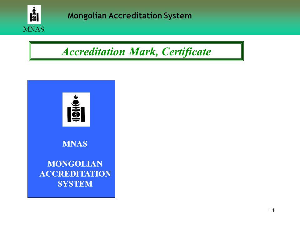 14 MNAS Mongolian Accreditation System MNAS MONGOLIAN ACCREDITATION SYSTEM Accreditation Mark, Certificate