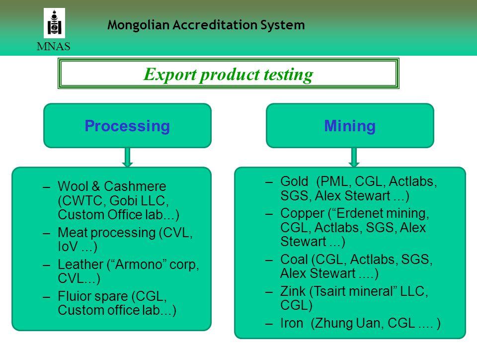 17 MNAS Export product testing ProcessingMining –Wool & Cashmere (CWTC, Gobi LLC, Custom Office lab...) –Meat processing (CVL, IoV...) –Leather ( Armono corp, CVL...) –Fluior spare (CGL, Custom office lab...) –Gold (PML, CGL, Аctlabs, SGS, Alex Stewart...) –Copper ( Erdenet mining, CGL, Аctlabs, SGS, Alex Stewart...) –Coal (CGL, Аctlabs, SGS, Alex Stewart....) –Zink (Tsairt mineral LLC, CGL) –Iron (Zhung Uan, CGL....