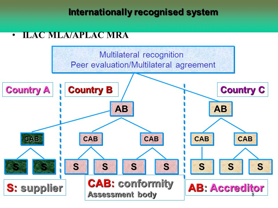88 Internationally recognised system Multilateral recognition Peer evaluation/Multilateral agreement Country B Country A Country C AB CABCAB SSSSSSSSS S: supplier CAB: conformity Assessment body AB: Accreditor ILAC MLA/APLAC MRA