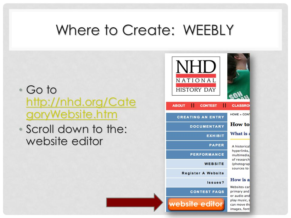 Where to Create: WEEBLY Go to http://nhd.org/Cate goryWebsite.htm Go to http://nhd.org/Cate goryWebsite.htm http://nhd.org/Cate goryWebsite.htm http://nhd.org/Cate goryWebsite.htm Scroll down to the: website editor Scroll down to the: website editor