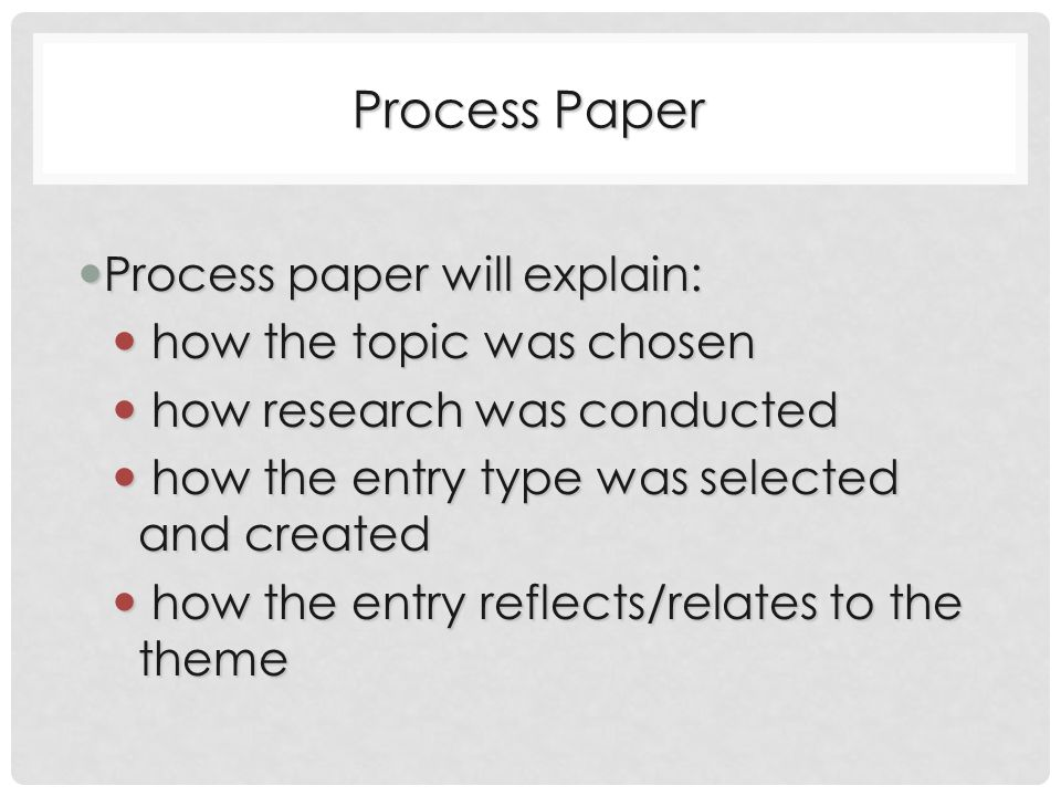 Process Paper Process paper will explain: Process paper will explain: how the topic was chosen how the topic was chosen how research was conducted how research was conducted how the entry type was selected and created how the entry type was selected and created how the entry reflects/relates to the theme how the entry reflects/relates to the theme