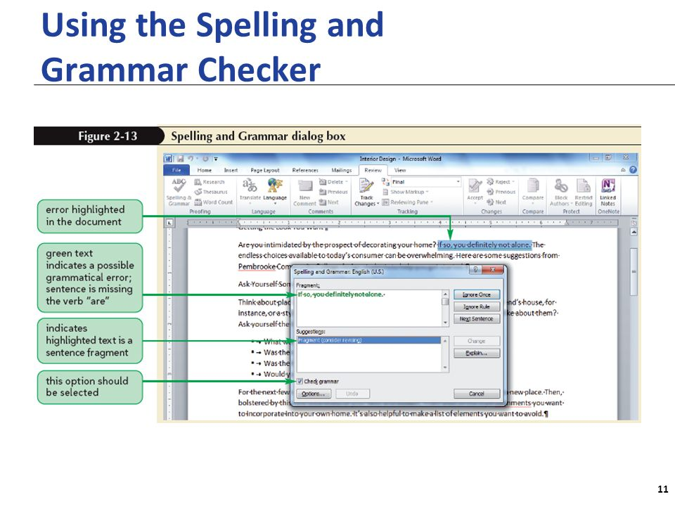 XP Using the Spelling and Grammar Checker 11