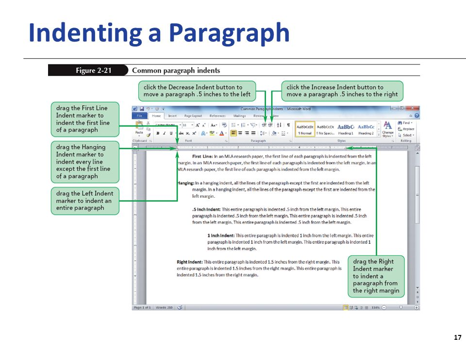 XP Indenting a Paragraph 17