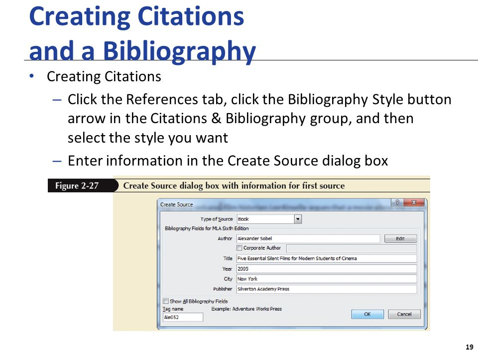 XP Creating Citations and a Bibliography Creating Citations – Click the References tab, click the Bibliography Style button arrow in the Citations & Bibliography group, and then select the style you want – Enter information in the Create Source dialog box 19