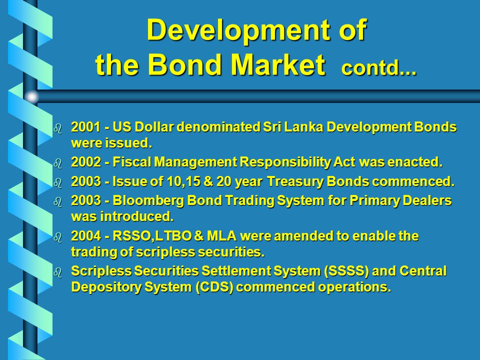 Development of the Bond Market contd...
