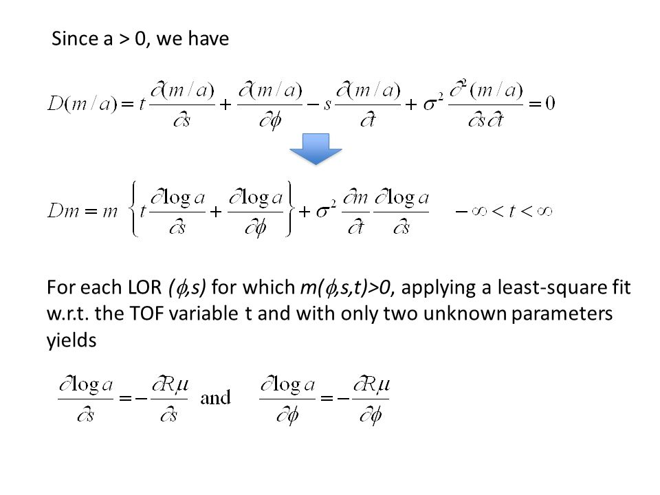 Since a > 0, we have For each LOR ( ,s) for which m( ,s,t)>0, applying a least-square fit w.r.t. the TOF variable t and with only two unknown parame
