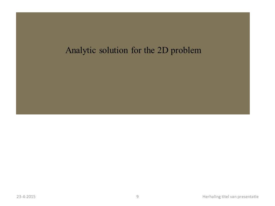 23-4-20159Herhaling titel van presentatie Analytic solution for the 2D problem
