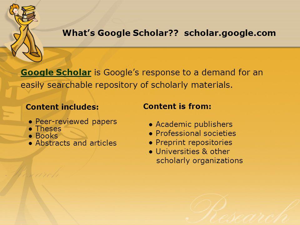 What's Google Scholar .