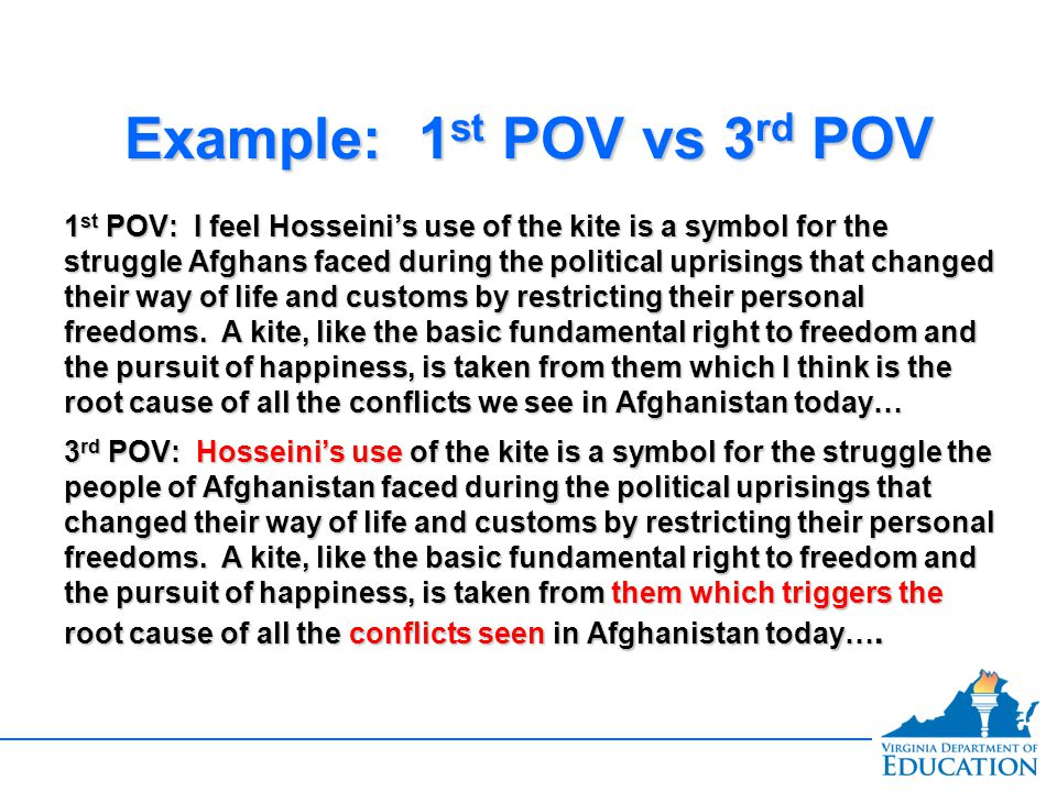 Example: 1 st POV vs 3 rd POV 1 st POV: I feel Hosseini's use of the kite is a symbol for the struggle Afghans faced during the political uprisings that changed their way of life and customs by restricting their personal freedoms.