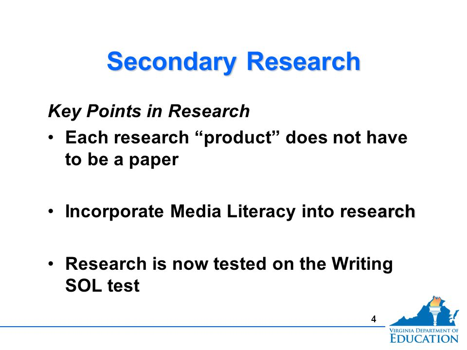 Secondary Research Key Points in Research Each research product does not have to be a paper archIncorporate Media Literacy into research Research is now tested on the Writing SOL test Key Points in Research Each research product does not have to be a paper archIncorporate Media Literacy into research Research is now tested on the Writing SOL test 4
