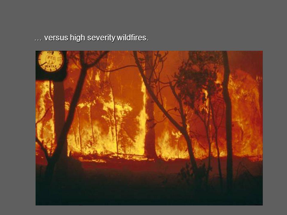 … versus high severity wildfires.