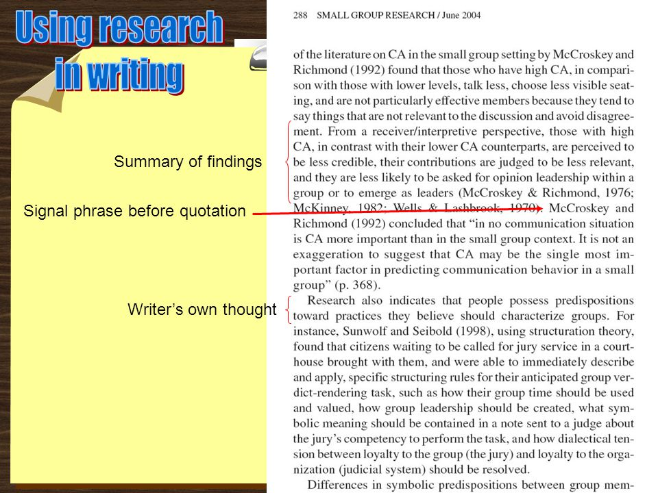 Writer's own thought Summary of findings Signal phrase before quotation
