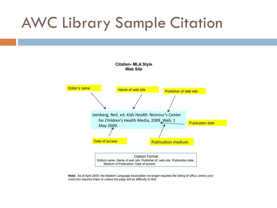 AWC Library Sample Citation