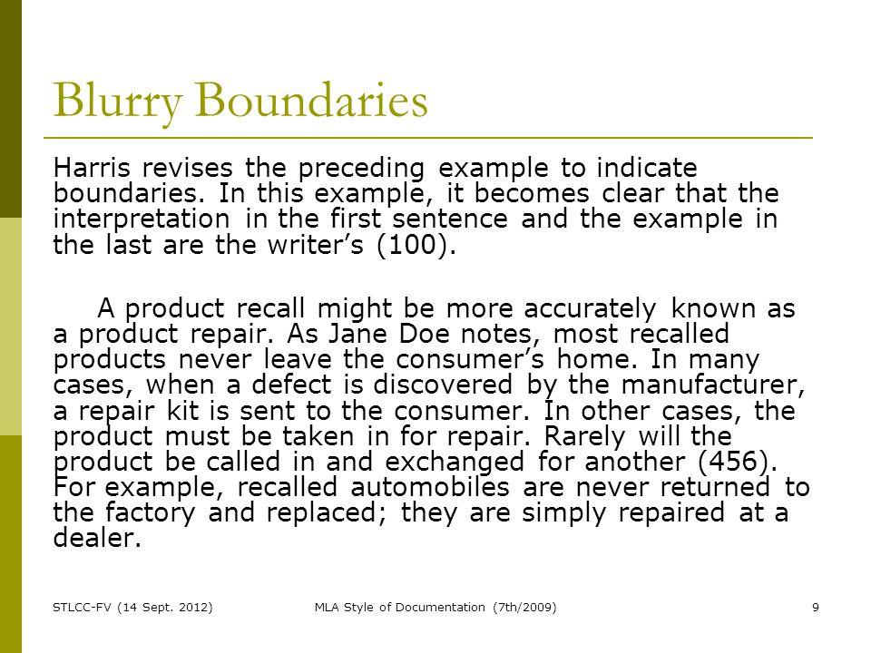 Blurry Boundaries Harris revises the preceding example to indicate boundaries.