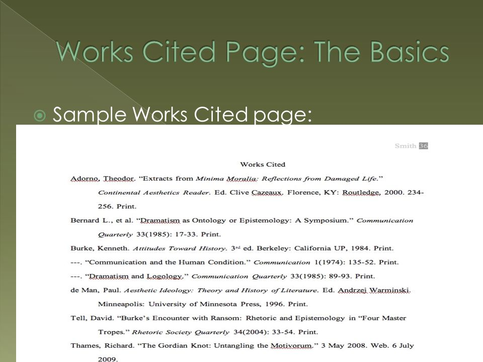  Sample Works Cited page:
