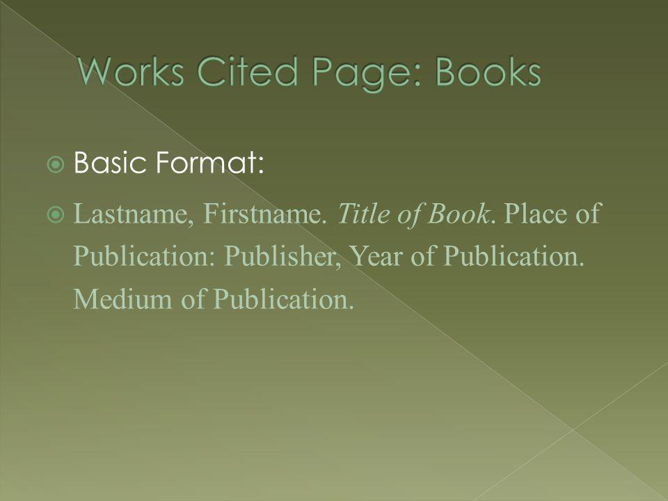  Basic Format:  Lastname, Firstname. Title of Book.