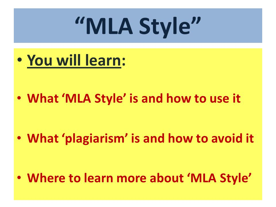 What is MLA style .