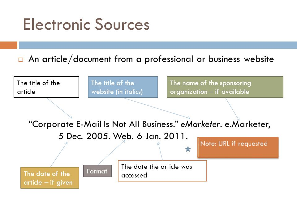 Electronic Sources  An article/document from a professional or business website Corporate E-Mail Is Not All Business. eMarketer.