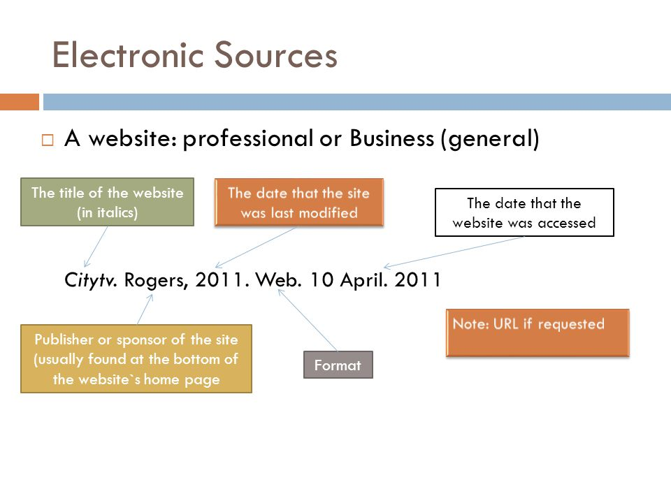 Electronic Sources  A website: professional or Business (general) Citytv.