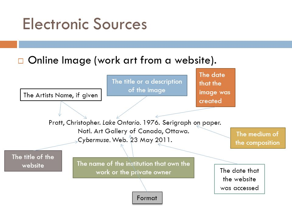 Electronic Sources  Online Image (work art from a website).