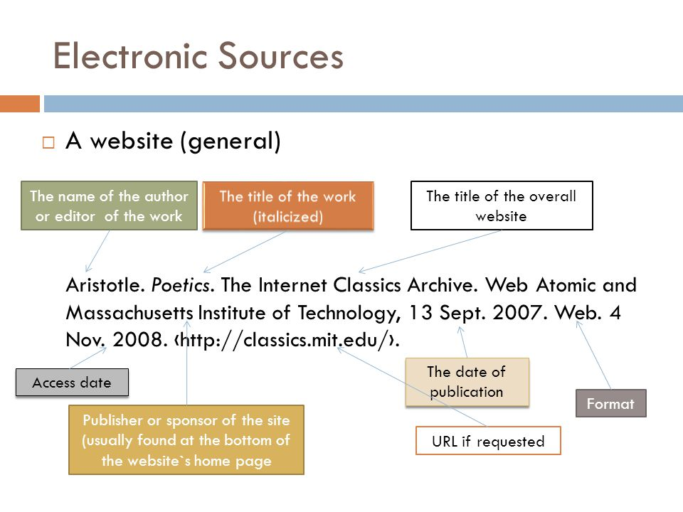 Electronic Sources  A website (general) Aristotle.