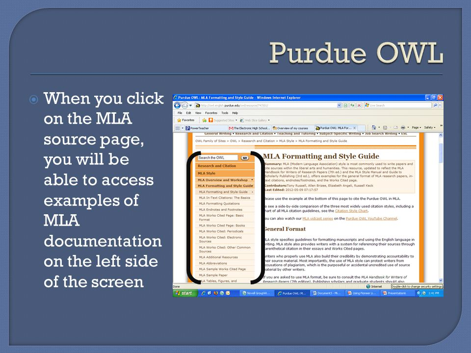  When you click on the MLA source page, you will be able to access examples of MLA documentation on the left side of the screen