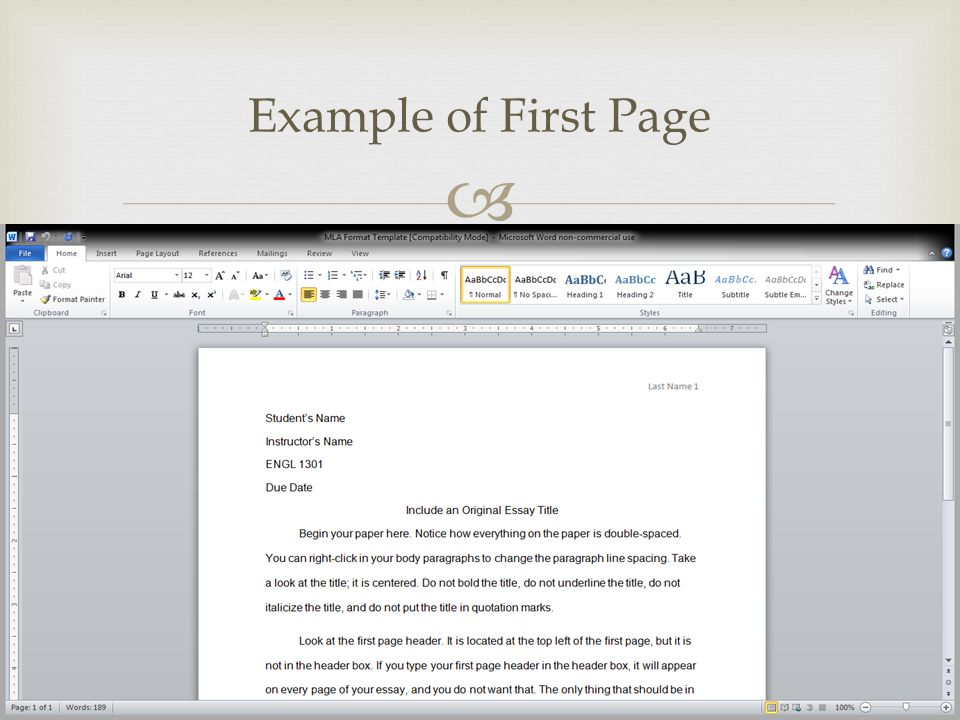  Example of First Page