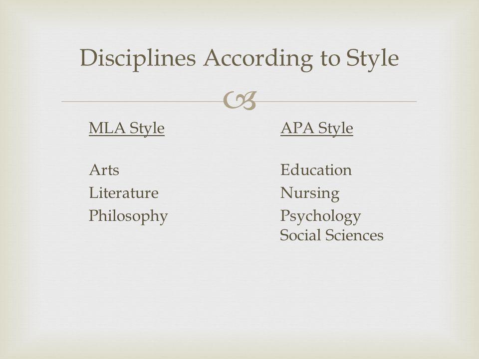  Disciplines According to Style MLA StyleAPA Style ArtsEducation LiteratureNursing PhilosophyPsychology Social Sciences