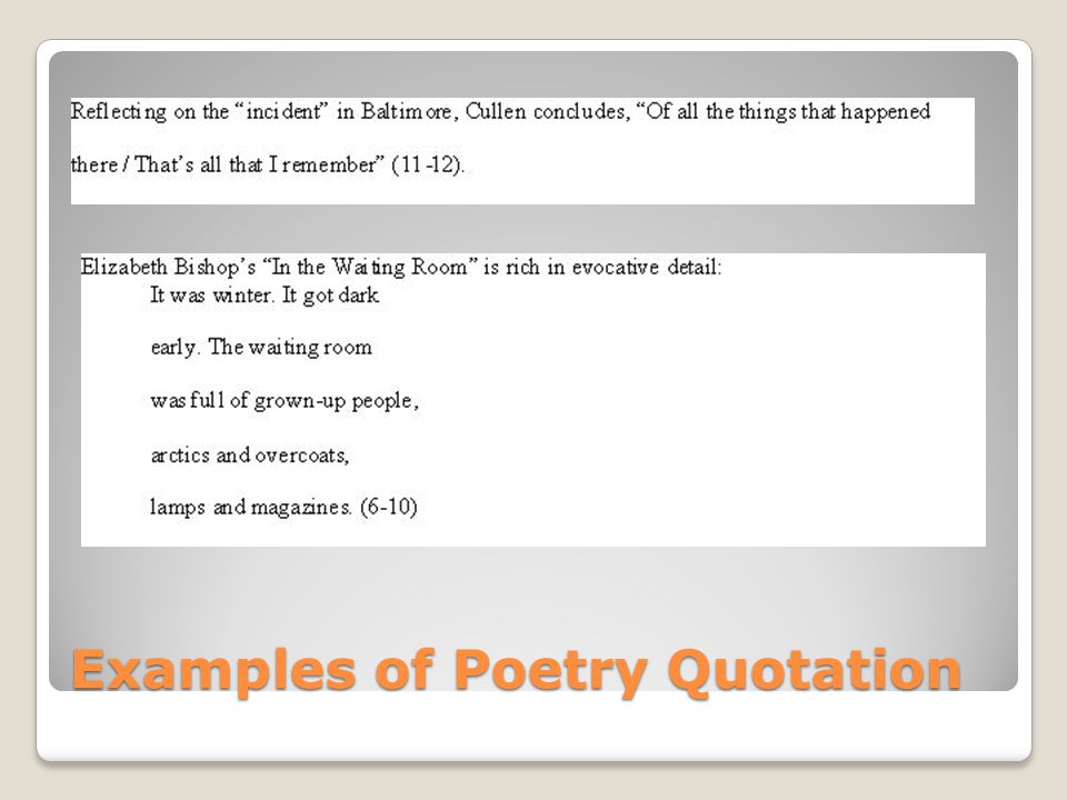 Examples of Poetry Quotation