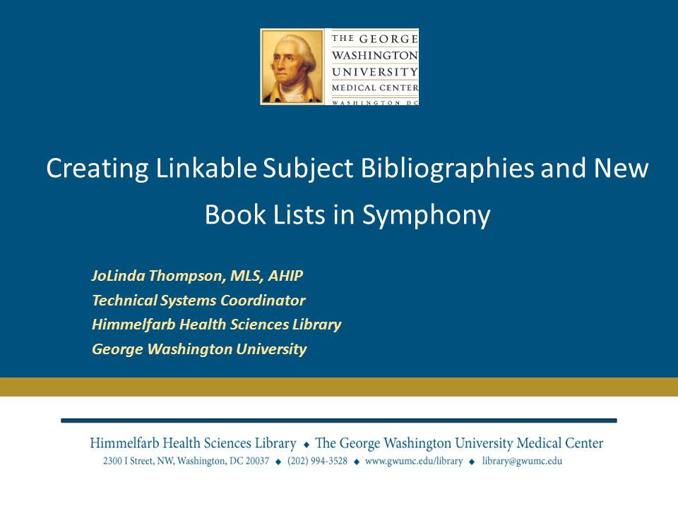 Scope of Presentation Creating self renewing bibliographies for Symphony opacs.