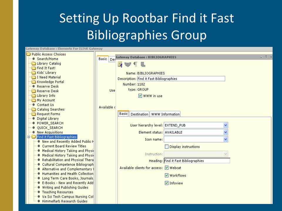 Setting Up Rootbar Find it Fast Bibliographies Group