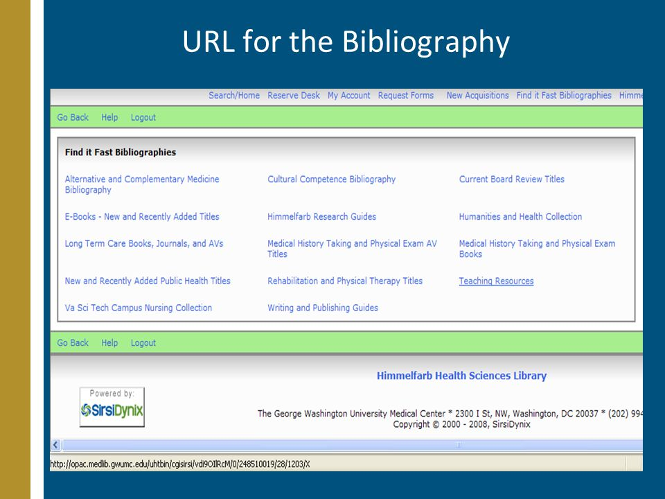 URL for the Bibliography
