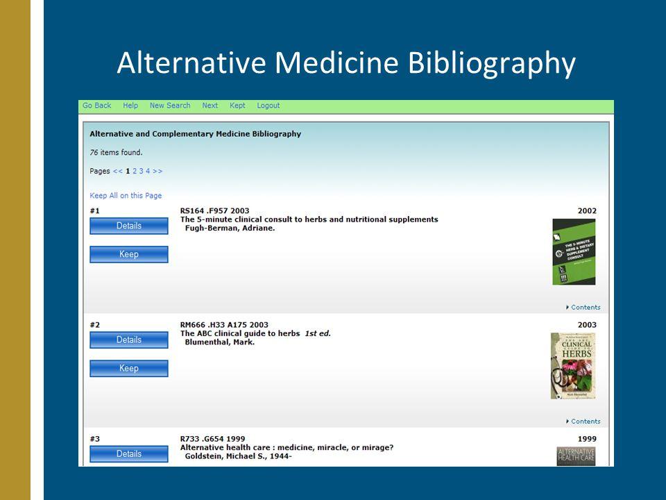 Alternative Medicine Bibliography