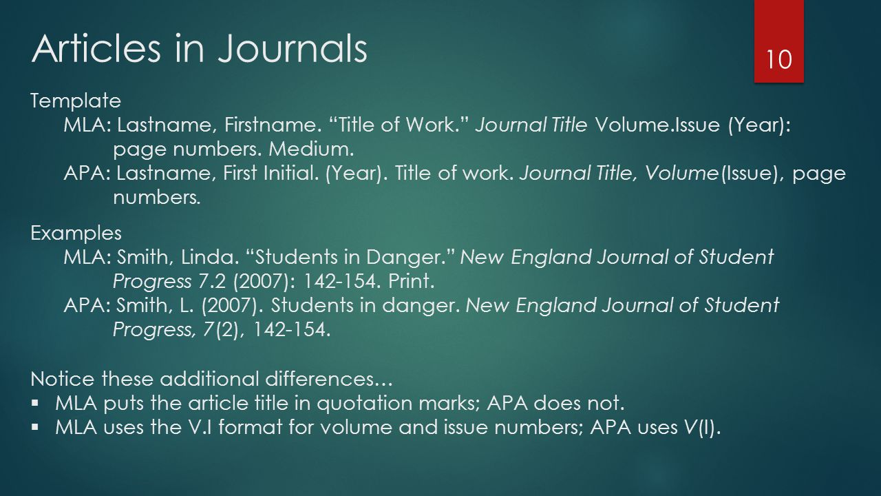 Articles in Journals 10 Template MLA: Lastname, Firstname.
