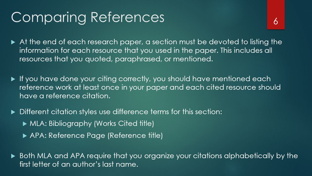 Comparing References  At the end of each research paper, a section must be devoted to listing the information for each resource that you used in the paper.