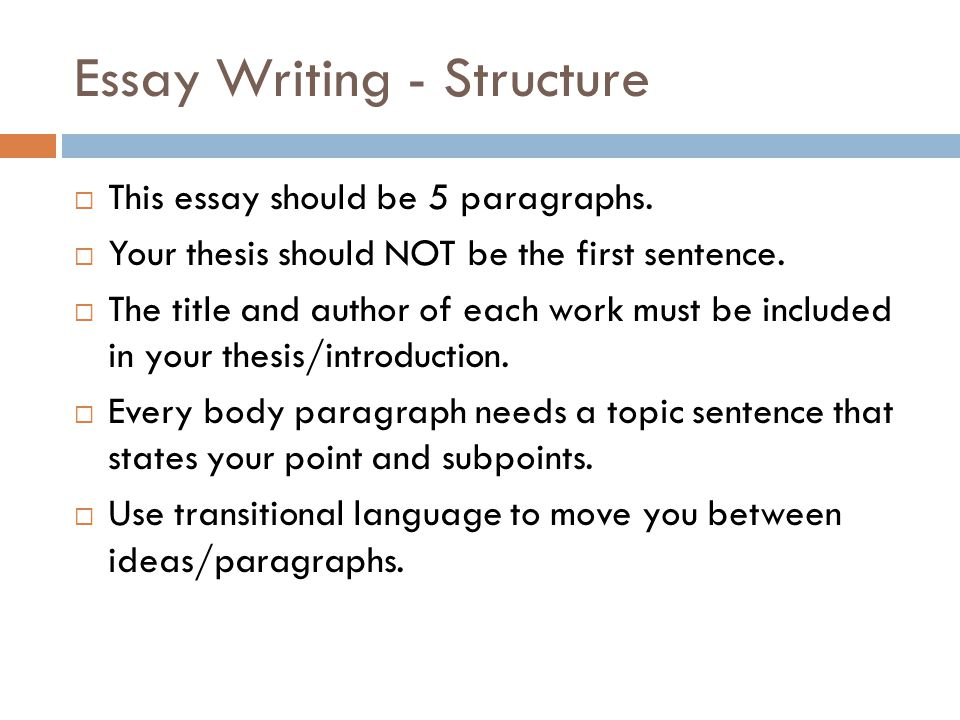 Essay Writing - Structure  This essay should be 5 paragraphs.  Your thesis should NOT be the first sentence.  The title and author of each work mus